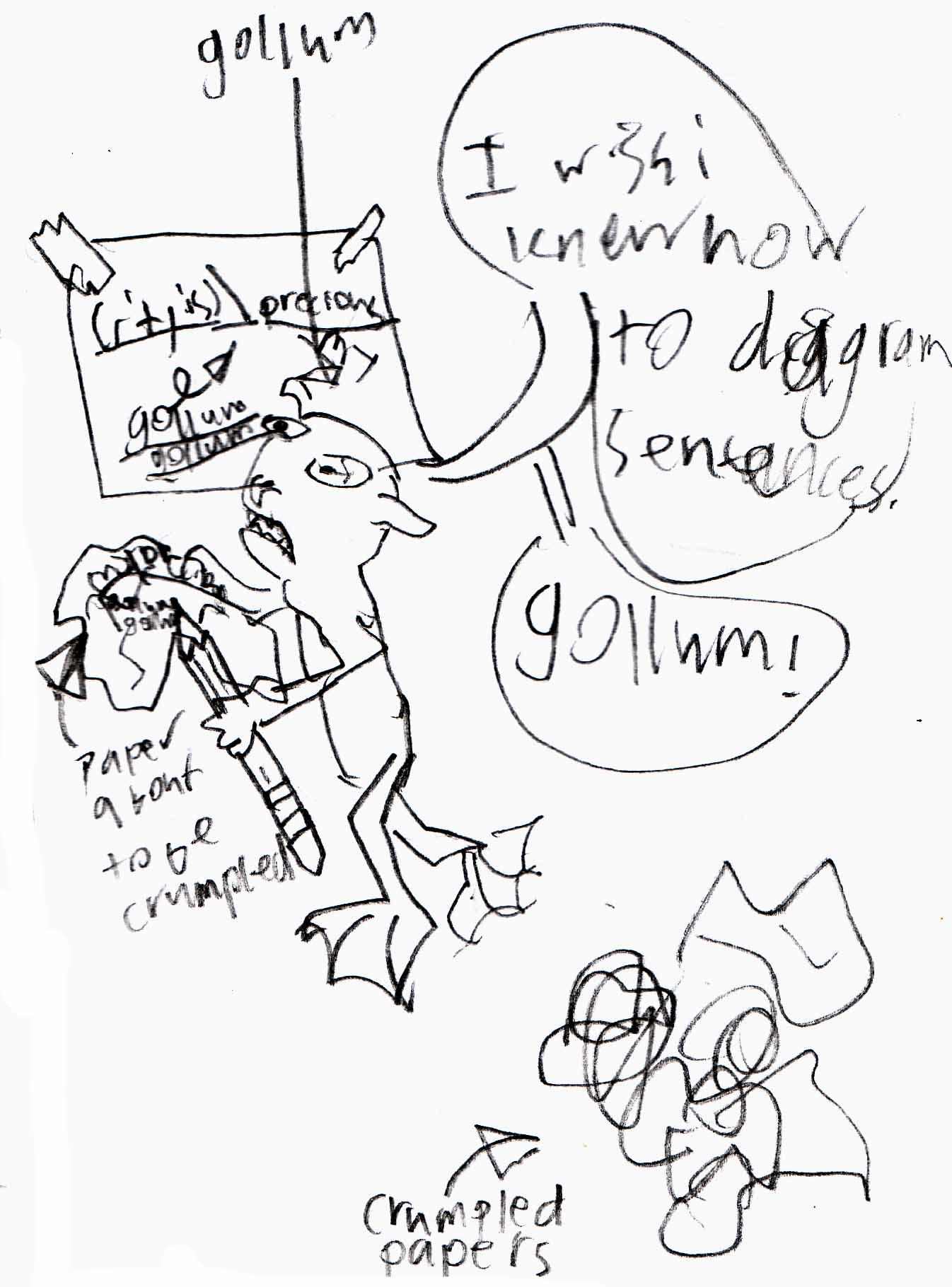 Gollum diagrams a sentence the scriptorium daily pooptronica