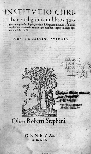 Calvin Institutes title page 1559