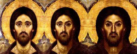 Encaustic Christ triple portrait