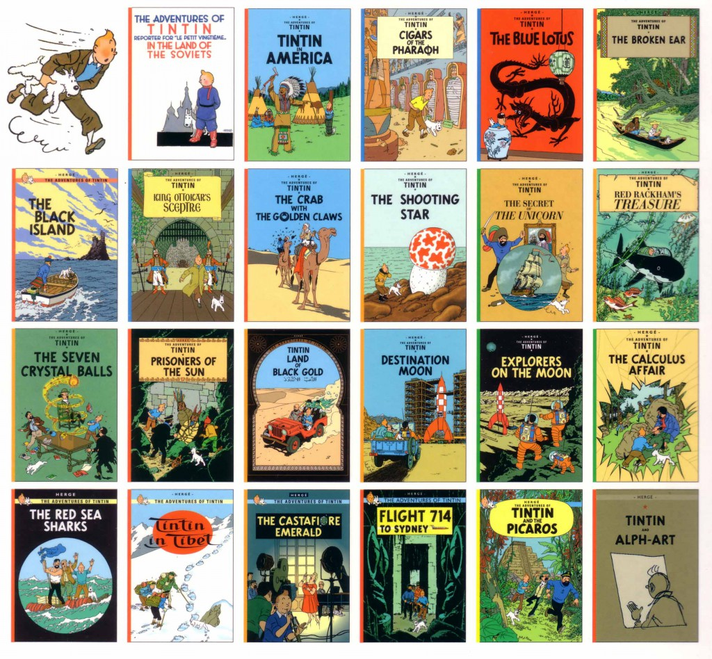 Covers of Tintin titles