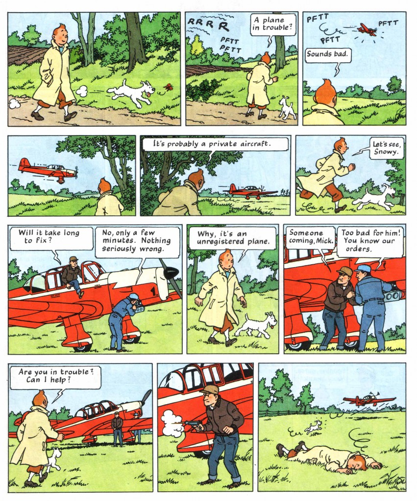 Tintin shot by mysterious pilots