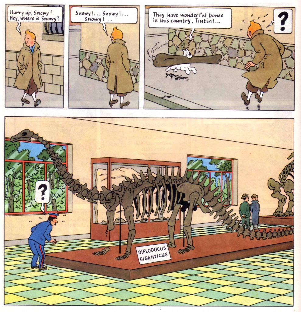 Tintin Snowy Dinosaur bones