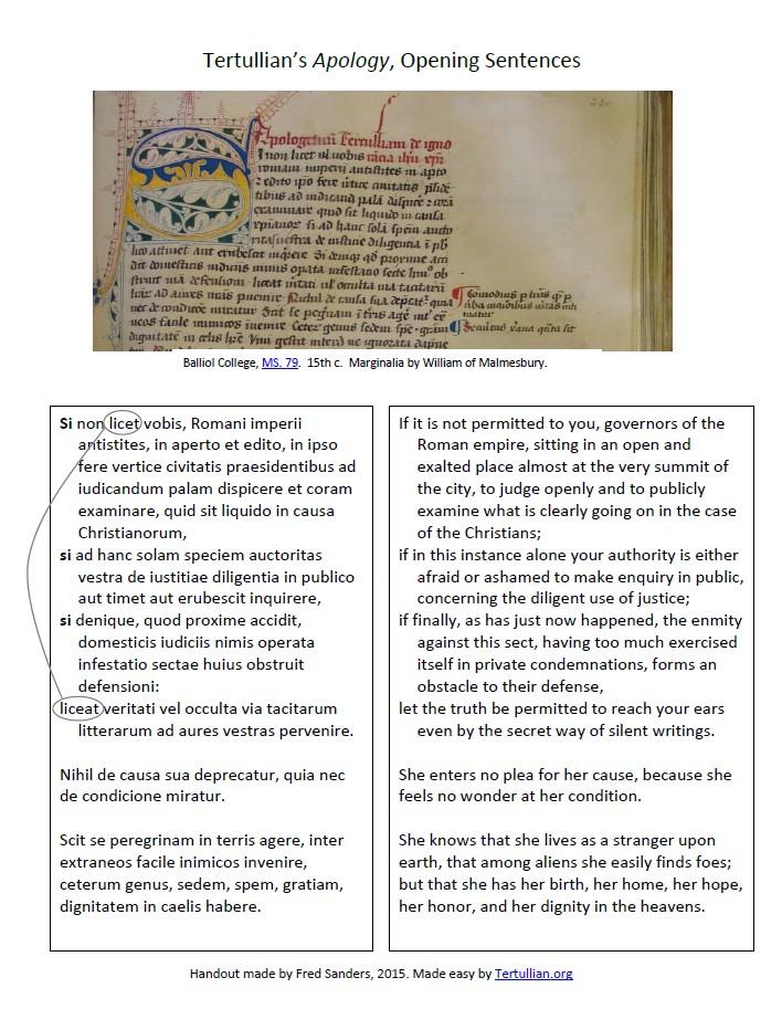 Tertullian Apology 1st sentence click here for pdf