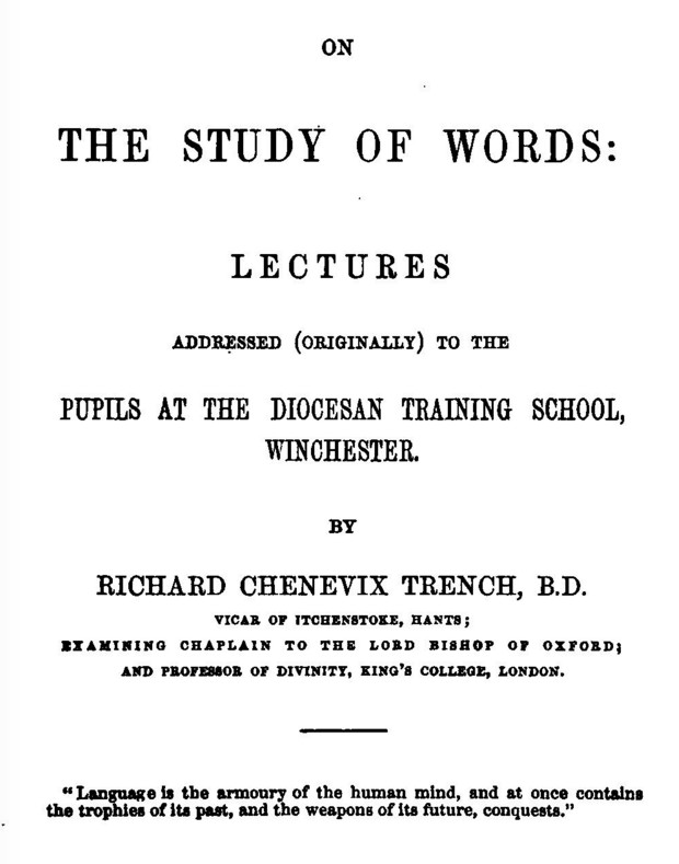 Trench on study of words