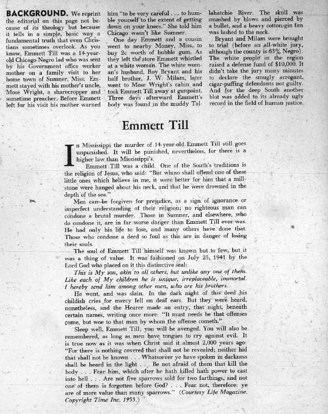 Kbiz 1955 reprinting Emmett Till editorial