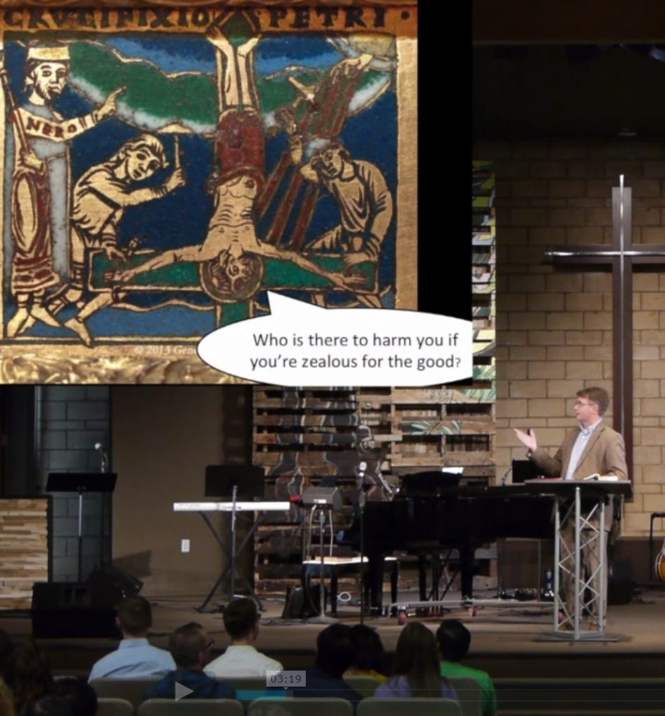 Sanders preahcing with crucifixion of Peter image