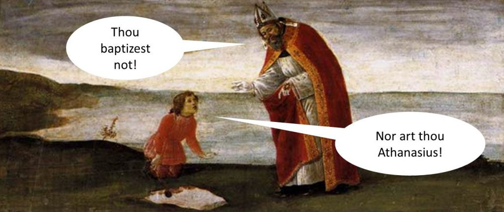 augustine not athansius digs hole not baptizes