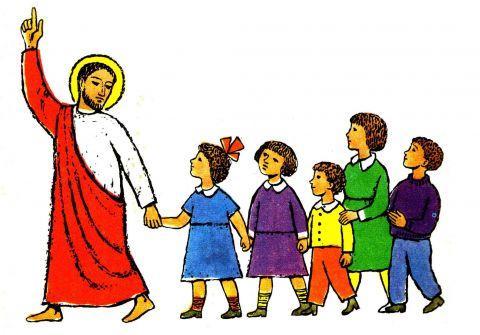 Jesus leading children by Johannes Gruger reversed