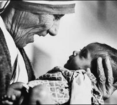 Mother Theresa with armless baby
